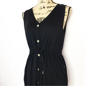 St. John Black Button Up Maxi Dress